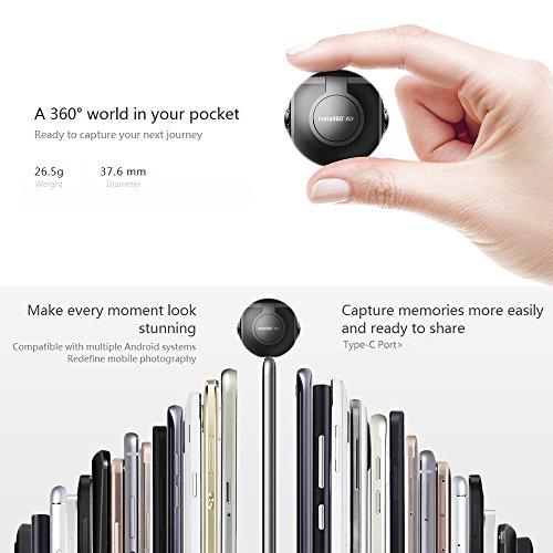 Insta360 Air Compact Mini Panorama 360 Grad 3K HD Kamera Dual Weitwinkel-Fischaugen-Objektiv VR Modus für OPPO R9 / Huawei P9 Mate9 / LG V20 Andriod Smartphone - 4