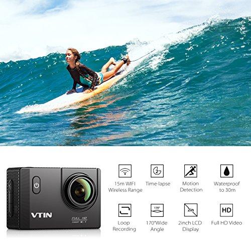 VTIN Action Kamera WIFI 2,0 Zoll, VTIN Full HD 1080P Sport Action Camera Cam Wasserdicht 170 ° Weitwinkel mit 2 Verbesserten Batterien und Zubehör Kits - 2