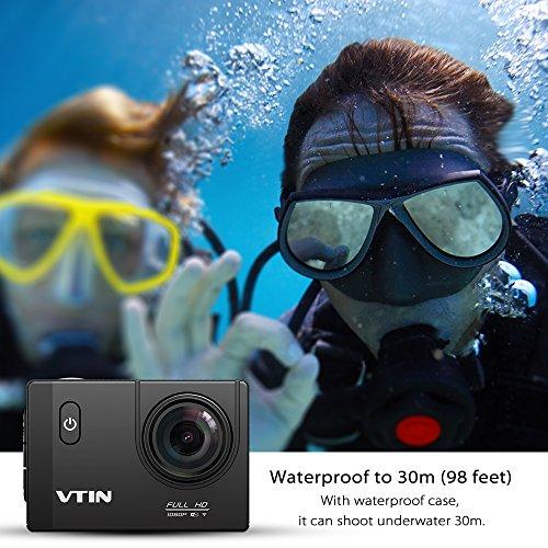 VTIN Action Kamera WIFI 2,0 Zoll, VTIN Full HD 1080P Sport Action Camera Cam Wasserdicht 170 ° Weitwinkel mit 2 Verbesserten Batterien und Zubehör Kits - 3