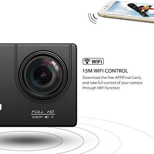 VTIN Action Kamera WIFI 2,0 Zoll, VTIN Full HD 1080P Sport Action Camera Cam Wasserdicht 170 ° Weitwinkel mit 2 Verbesserten Batterien und Zubehör Kits - 4