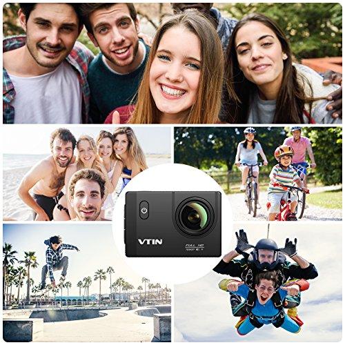 VTIN Action Kamera WIFI 2,0 Zoll, VTIN Full HD 1080P Sport Action Camera Cam Wasserdicht 170 ° Weitwinkel mit 2 Verbesserten Batterien und Zubehör Kits - 5