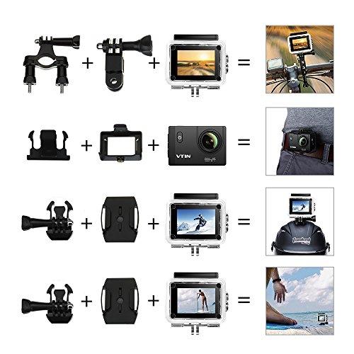 VTIN Action Kamera WIFI 2,0 Zoll, VTIN Full HD 1080P Sport Action Camera Cam Wasserdicht 170 ° Weitwinkel mit 2 Verbesserten Batterien und Zubehör Kits - 6