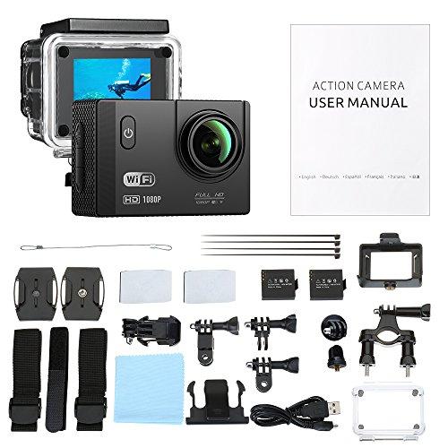 VTIN Action Kamera WIFI 2,0 Zoll, VTIN Full HD 1080P Sport Action Camera Cam Wasserdicht 170 ° Weitwinkel mit 2 Verbesserten Batterien und Zubehör Kits - 7