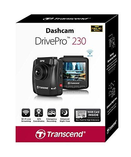 Transcend TS16GDP230M DrivePro 230 Full-HD Autokamera (6,1 cm (2,4 Zoll), Farbdisplay, Inklusive 16GB Micro SDHC Speicherkarte, MLC, Wifi, Speed Alarm, GPS) schwarz - 5