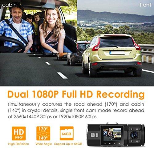 Vantrue N2 Pro Dual Dashcam full HD 1080P Auto kamera vorne hinten mit nahe 360° Weitwinkelobjektive (vorne 170°, DVR,hinten 140°), 1.5 Zoll LCD Bildschirm, Sony Sensor, IR Sensor(Rückkamera), Nachtsicht, GPS(nicht inkl.), Parkmonitoring, Bewegungserkennung, Loop-Aufnahme und G-Sensor - 2