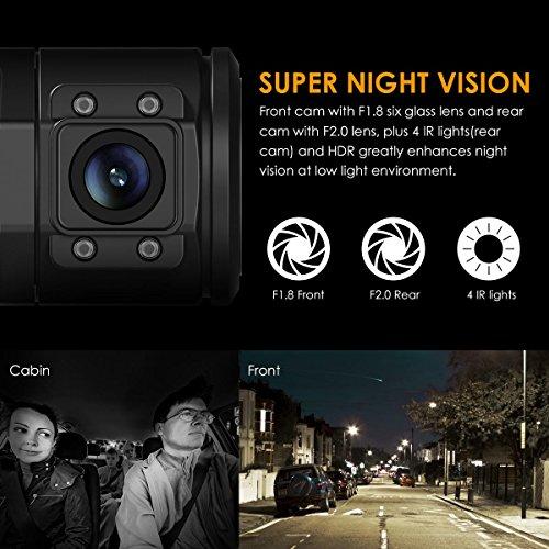 Vantrue N2 Pro Dual Dashcam full HD 1080P Auto kamera vorne hinten mit nahe 360° Weitwinkelobjektive (vorne 170°, DVR,hinten 140°), 1.5 Zoll LCD Bildschirm, Sony Sensor, IR Sensor(Rückkamera), Nachtsicht, GPS(nicht inkl.), Parkmonitoring, Bewegungserkennung, Loop-Aufnahme und G-Sensor - 3