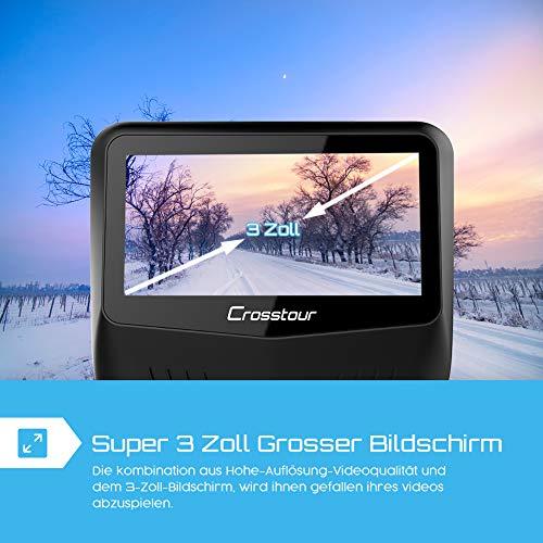 Crosstour Dashcam 1080P Full HD Vorne und Hinten Dual Lens, Externe GPS Auto Kamera, 170 ° Weitwinkelobjektiv HDR Nachtsicht, Bewegungserkennung G-Sensor Loop-Aufnahme - 9