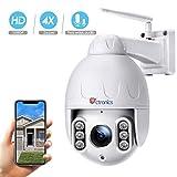 Ctronics überwachungskamera Aussen, 360° Drehen PTZ Kamera IP Dome kamera, 4-Fach optischem Zoomobjektiv outdoor Kamera, Zwei Wege Audio 60m...
