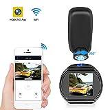 Kfz-Dashcam WiFi Mini Dashcam HQBKiNG FHD 1080P Auto Armaturenbrett Kamera mit Nachtsicht magnetisch 360° drehbar Ständer G-Sensor Loop Aufnahme...