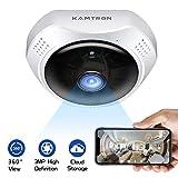 KAMTRON 3MP 1536P 360 ° Fisheye Überwachungskamera WLAN WiFi IP Kamera - Cloud Speicher Panorama Security Camera Cam mit Bewegungserkennung...