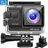 Victure Actioncam 4K WiFi 170° Weitwinkel Aktionkameras Wasserdicht 40M Unterwasserkamera 20MP Ultra Full HD Sport Action Kamera mit Ladegerät 2...