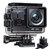 Victure AC800 Action Cam 4K 20MP WiFi Unterwasserkamera 40M Anti-Shaking Weitwinkelobjektiv Dual Batterien Akkuladegerät und 22 Montage Zubehör